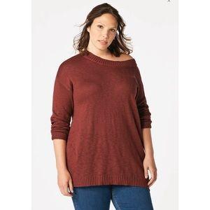 JUSTFAB Plus Size Oxblood Wide Boatneck Sweater